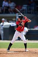 Carolina Mudcats Brice Turang (2) at bat during a Carolina League game against the Winston-Salem Dash on August 14, 2019 at Five County Stadium in Zebulon, North Carolina.  Winston-Salem defeated Carolina 4-2.  (Mike Janes/Four Seam Images)