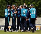 Scottish Saltires V Surry Lions - CB40 Cricket - Citylets Grange ground in Edinburgh - one of 7 Saltires wicket celebrations (this time for one of Josh Davey's pair - Davey is 2nd from left) - Picture by Donald MacLeod - 15.05.11 - 07702 319 738 - www.donald-macleod.com - clanmacleod@btinternet.com