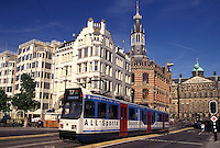 Amsterdam, Holland, Netherlands, Noord-Holland, Europe, Tram in downtown Amsterdam.