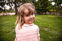 4 year old girl with quizical look, New Zealand - stock photo, canvas, fine art print