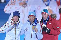 OLYMPICS: SOCHI: Medal Plaza, 09-02-2014, Biathlon, Men's Sprint, Jaroslav Soukup (CZE), Ole Einar Bjoerndalen (NOR), Dominik Landertinger (AUT), ©photo Martin de Jong