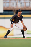 Bradenton Marauders second baseman Trae Arbet (26) during a game against the Dunedin Blue Jays on May 2, 2018 at LECOM Park in Bradenton, Florida.  Bradenton defeated Dunedin 6-3.  (Mike Janes/Four Seam Images)