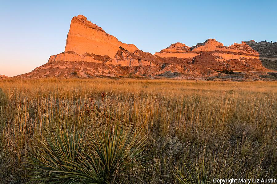 Scotts Bluff National Monument, Nebraska: Scotts Bluff rises above prairie grasses at sunrise.