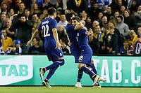 June 7, 2016: PETROS MANTALOS (18) of Greece celebrates his goal during an international friendly match between the Australian Socceroos and Greece at Etihad Stadium, Melbourne. Photo Sydney Low