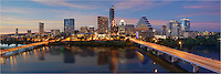This Austin skyline panorama was taken from high above Lady Bird Lake looking across to the architecture of downtown Austin. In this Austin photo, you can see Congress Avenue, the Frost Tower, the 360 Condos, and other Austin Icons.