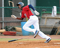 Infielder Niko Goodrum (15) of the Elizabethton Twins, Appalachian League affiliate of the Minnesota Twins, in a game against the Bristol White Sox on August 18, 2011, at Joe O'Brien Field in Elizabethton, Tennessee. Elizabethton defeated Bristol, 13-3. (Tom Priddy/Four Seam Images)