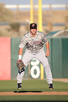 Jeff Boehm (29) of the Inland Empire 66ers in the field at first base during a game against the Lancaster JetHawks at The Hanger on September 3, 2016 in Lancaster, California. Lancaster defeated Inland Empire, 7-6. (Larry Goren/Four Seam Images)