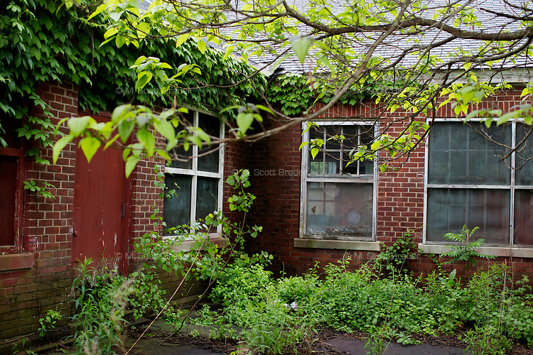 Many buildings on the campus of the Fernald Developmental Center in Waltham, Massachusetts, USA, have fallen into disrepair.