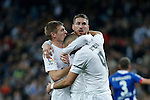 Real Madrid´s Karim Benzema celebrates a goal with Sergio Ramos and Toni Kroos during 2015/16 La Liga match between Real Madrid and Deportivo de la Coruna at Santiago Bernabeu stadium in Madrid, Spain. January 09, 2015. (ALTERPHOTOS/Victor Blanco)
