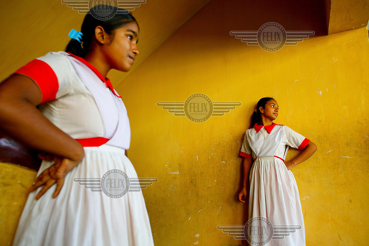 Two girls at the Baptist Sangha School for Blind Girls. This place remains the only specialised residential school for blind girls in Bangladesh. At present, the school - directed by Bangladesh Baptist Church Sangha - that started with only five students, houses and educates about 70 girls, hailing from the least-privileged quarters of society.