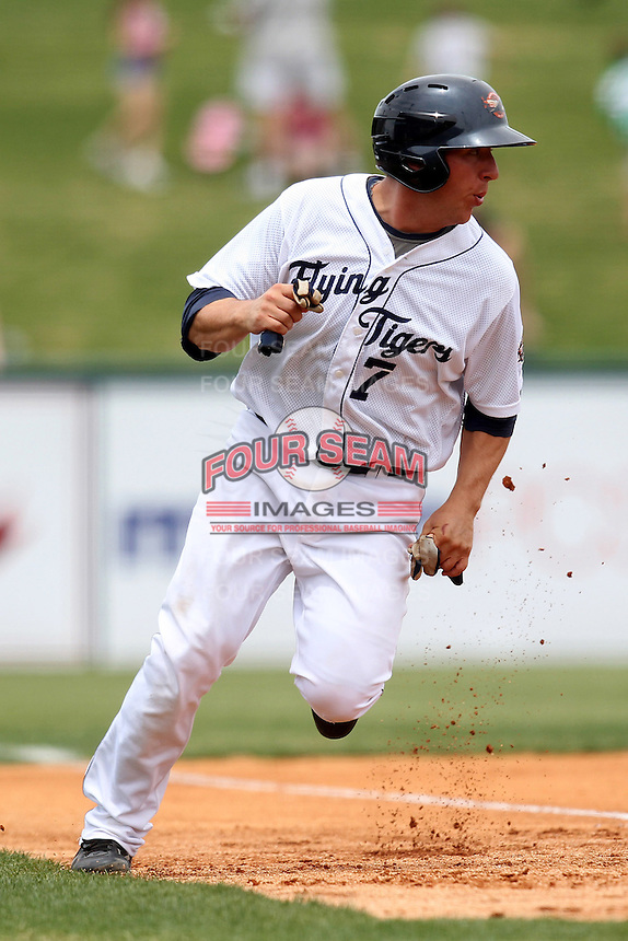 Lakeland Flying Tigers first baseman James Robbins #7 during a game against the Daytona Cubs at Joker Marchant Stadium on April 29, 2012 in Lakeland, Florida.  Lakeland defeated Daytona 6-4.  (Mike Janes/Four Seam Images)