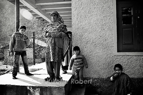 A woman and her nephews and nieces in Bijhama, north Kashmir
