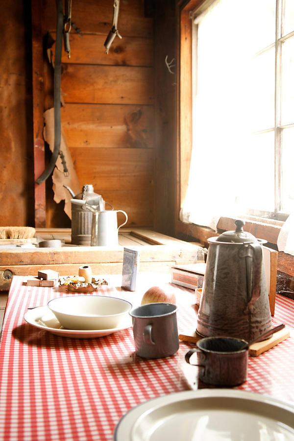 Rustic table setting, Stable house, Saint-Gaudens National Historic Site, Cornish, Sullivan County, New Hampshire, USA