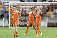 Houston, TX - Saturday July 15, 2017: Andressa Cavalari Machry celebrates her goal with Poliana Barbosa Medeiros during a regular season National Women's Soccer League (NWSL) match between the Houston Dash and the Washington Spirit at BBVA Compass Stadium.