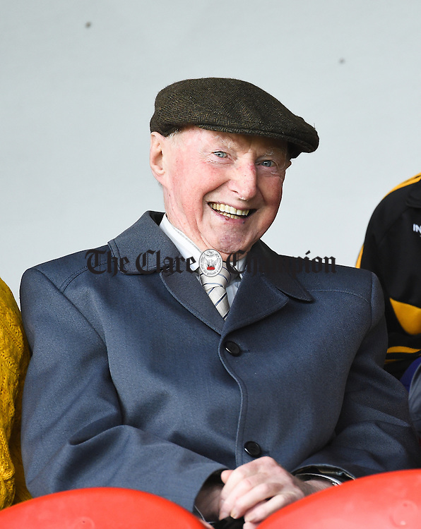 James Arthur, 93 years old, last surviving member of the 1944 Ballyea team who won the Intermediate A County hurling final. He travelled from Dublin for the day to watch Ballyea play in the 2016 Senior final. The day he won in 1944 he had to cycle to Tulla, win the match & cycle home!! Photograph by John Kelly.