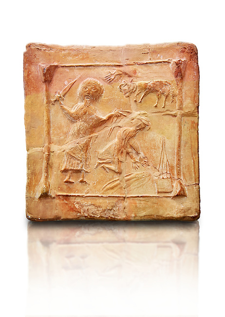 6th-7th Century Eastern Roman Byzantine  Christian Terracotta tiles depicting Abraham about to offer his son Isaac as a sacrifice<br />