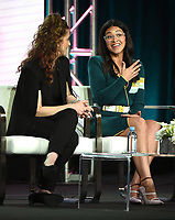 """PASADENA, CA - JANUARY 31: (L-R) Executive Producer Jennie Snyder Urman and Gina Rodriguez attend """"A Final Farewell to Jane the Virgin"""" during the CW portion of the 2019 Television Critics Association Winter Press Tour at the Langham Huntington on January 31, 2019, in Pasadena, California. (Photo by Frank Micelotta/PictureGroup)"""