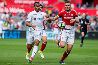 Sunday April 02 2017 <br /> Pictured: Jordan Ayew of Swansea City in action <br /> Re: Premier League match between Swansea City and Middlesbrough at The Liberty Stadium, Swansea, Wales, UK. SUnday 02 April 2017