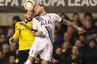 Kieran Trippier of Tottenham Hotspur (right) and Gonzalo Castro of Borussia Dortmund in an aerial battle during the UEFA Europa League match between Tottenham Hotspur and Borussia Dortmund at White Hart Lane, London, England on 17 March 2016. Photo by David Horn / PRiME Media Images