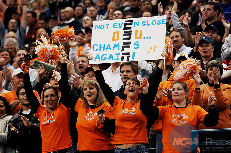 18 MAR 2006:  Oklahoma State University fans cheer on the wrestling team during the Division I Men?s Wrestling Championship held at the Ford Center in Oklahoma City, OK. Oklahoma State University won the national title.  Brandi Simons/NCAA Photos