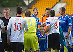 St Johnstone v Ross County...17.08.13 SPFL<br /> Richie Brittain sheakes hands with Dave Mackay prior to kick off<br /> Picture by Graeme Hart.<br /> Copyright Perthshire Picture Agency<br /> Tel: 01738 623350  Mobile: 07990 594431