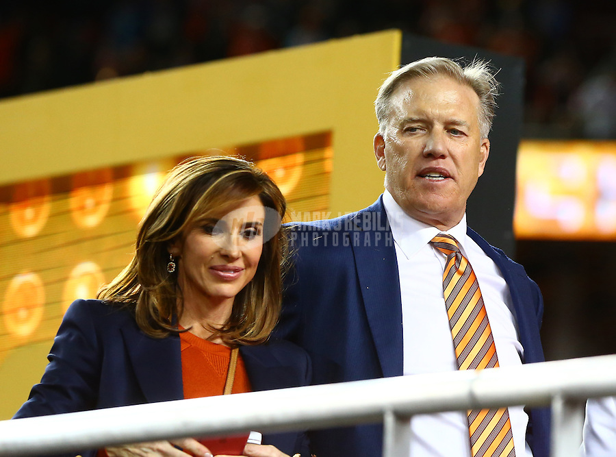 Feb 7, 2016; Santa Clara, CA, USA; Denver Broncos general manager John Elway (right) with wife Paige Greene after defeating the Carolina Panthers in Super Bowl 50 at Levi's Stadium. Mandatory Credit: Mark J. Rebilas-USA TODAY Sports