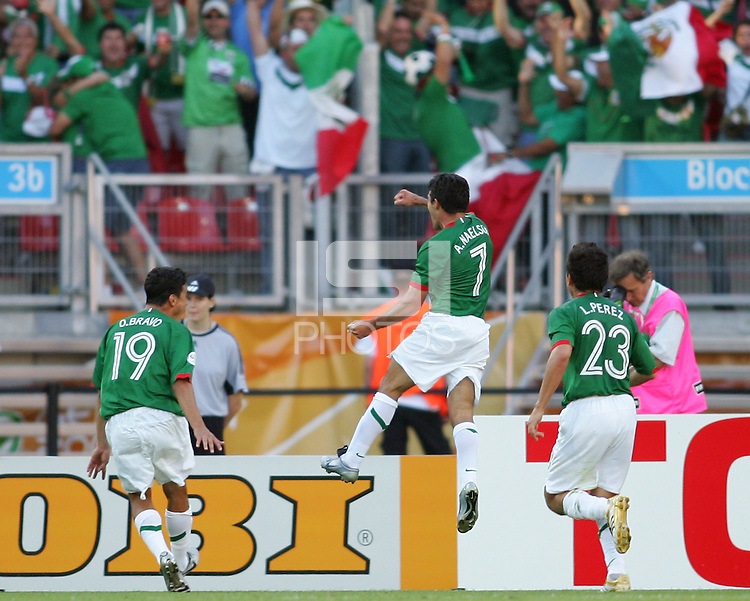 Zinha celebrates his goal. Mexico defeated Iran 3-1 during a World Cup Group D match at Franken-Stadion, Nuremberg, Germany on Sunday June 11, 2006.