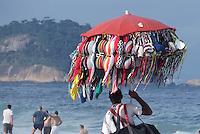 FUSSBALL WM 2014  11.06.2014 Ein Strandverkaeufer bietet Bademode am Stand der Copacabana an