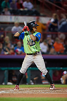 Las Ardillas Voladoras de Richmond Johneshwy Fargas (8) at bat during an Eastern League game against the Erie Piñatas on August 28, 2019 at UPMC Park in Erie, Pennsylvania.  Richmond defeated Erie 4-3 in the second game of a doubleheader.  (Mike Janes/Four Seam Images)