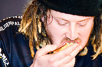 "Jason ""Crazy Legs"" Conti eats as quickly as possible at the I.F.O.C.E. sanctioned Grilled Cheese Eating Competition, held in New York City on February 1, 2006."