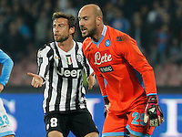 Claudio Marchisio   Pepe Reina during the Italian Serie A soccer match between SSC Napoli and Juventus FC   at San Paolo stadium in Naples, March 30 , 2014     ction