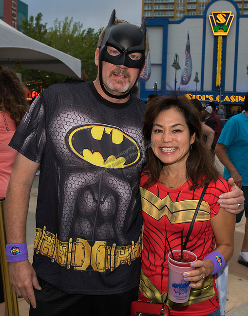 Rich and Sharon during the Super Hero Crawl in Reno on Saturday, July 15 2017.