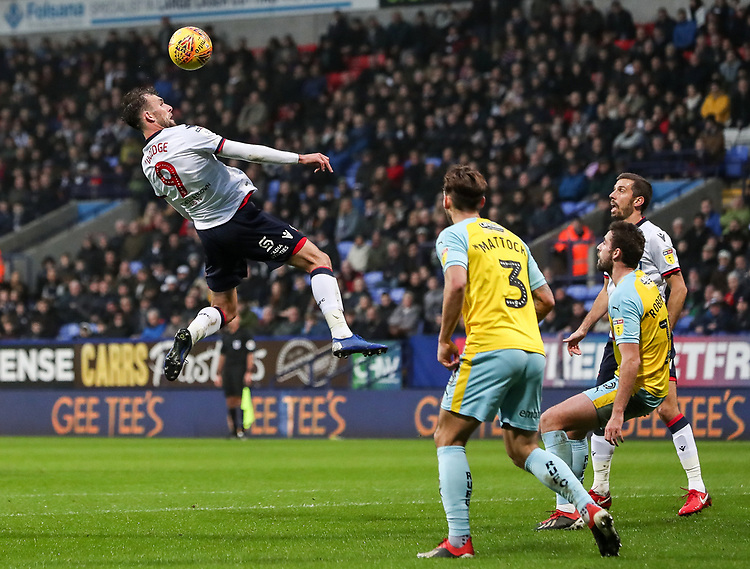 Bolton Wanderers' Christian Doidge competing in the air<br /> <br /> Photographer Andrew Kearns/CameraSport<br /> <br /> The EFL Sky Bet Championship - Bolton Wanderers v Rotherham United - Wednesday 26th December 2018 - University of Bolton Stadium - Bolton<br /> <br /> World Copyright © 2018 CameraSport. All rights reserved. 43 Linden Ave. Countesthorpe. Leicester. England. LE8 5PG - Tel: +44 (0) 116 277 4147 - admin@camerasport.com - www.camerasport.com