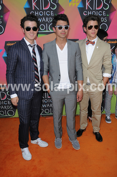 **ALL ROUND PICTURES FROM SOLARPIX.COM**.**SYNDICATION RIGHTS FOR UK, AUSTRALIA, DENMARK, PORTUGAL, S. AFRICA, SPAIN & DUBAI.Nickelodeon´s 23rd Annual Kids Choice Awards - Arrivals, UCLA's Pauley Pavilion, Los Angeles, CA, USA, 27 March 2010.This pic: Kevin Jonas, Joe Jonas and Nick Jonas.JOB REF: 10998  PHZ charlotte DATE: 27_03_2010.**MUST CREDIT SOLARPIX.COM OR DOUBLE FEE WILL BE CHARGED**.**MUST NOTIFY SOLARPIX OF ONLINE USAGE**.**CALL US ON: +34 952 811 768 or LOW RATE FROM UK 0844 617 7637**
