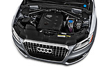 Car stock 2013-2014 Audi Q5 Base 5 Door SUV engine high angle detail view