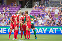 Orlando, FL - Saturday April 22, 2017: Shelina Zadorsky, Kassey Kallman, Whitney Church, Estelle Johnson, Stephanie Labbe during a regular season National Women's Soccer League (NWSL) match between the Orlando Pride and the Washington Spirit at Orlando City Stadium.