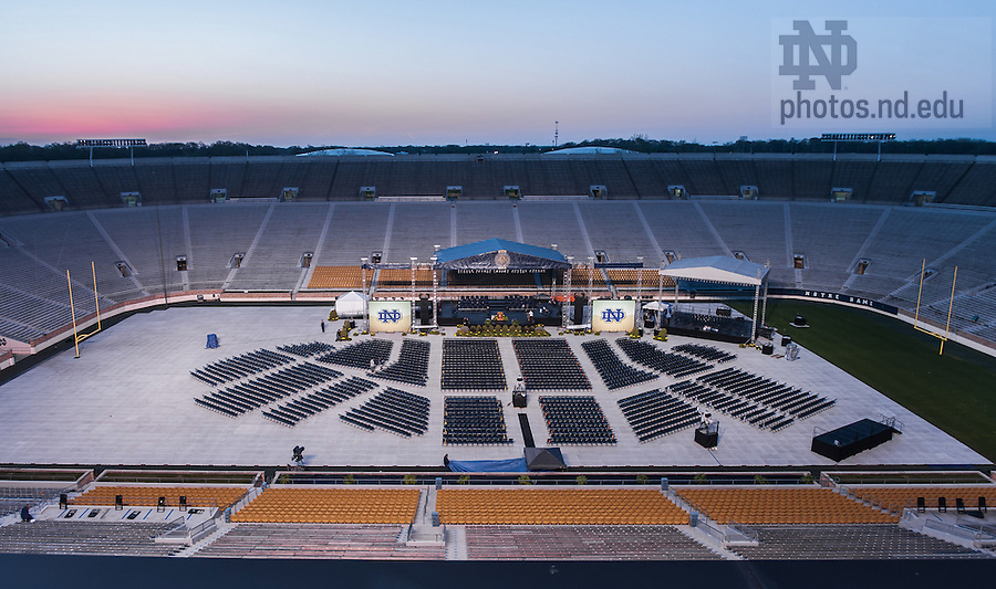 May 18, 2014; Notre Dame Stadium on the morning of the 2014 Commencement ceremony.<br /> <br /> Photo by Matt Cashore/University of Notre Dame