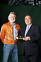Alex Salmond, MSP and First Minister of Scotland with Iain Banks author where he was chairing the talk at The Edinburgh International Book Festival 2011. Credit Geraint Lewis