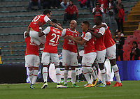 BOGOTÁ -COLOMBIA-14-MAYO-2016. Yeison Gordillo del  Independiente Santa Fe   celebra su gol contra  Fortaleza F.C durante partido por la fecha 18 de Liga Águila I 2016 jugado en el estadio Nemesio Camacho El Campin de Bogotá./ Yeison Gordillo of Independiente Santa Fe celebrates his goal against of Fotaleza FC  during the match for the date 18 of the Aguila League I 2016 played at Nemesio Camacho El Campin stadium in Bogota. Photo: VizzorImage / Felipe Caicedo / Staff