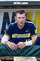 Michigan Wolverines outfielder Dominic Clementi (13) before Game 3 of the NCAA College World Series Finals on June 26, 2019 at TD Ameritrade Park in Omaha, Nebraska. Vanderbilt defeated Michigan 8-2 to win the National Championship. (Andrew Woolley/Four Seam Images)