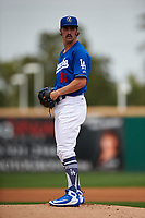 Rancho Cucamonga Quakes starting pitcher Tony Gonsolin (16) prepares to deliver a pitch during a California League game against the Lake Elsinore Storm at LoanMart Field on May 20, 2018 in Rancho Cucamonga, California. Rancho Cucamonga defeated Lake Elsinore 6-2. (Zachary Lucy/Four Seam Images)