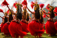 Teahupoo, Tahiti Iti, French Polynesia. Wednesday 15 August 2012. The Opening Ceremony of the Billabong Pro Tahiti was held today on the Point at the End of The Road. Traditional Tahitian dancing was part of the ceremony. The swell was in the 2'-3' range but seemed to be building during the day.  Photo: joliphotos.com