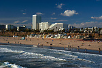 View of Santa Monica beach and downtown area from the pier in Los Angeles, CA