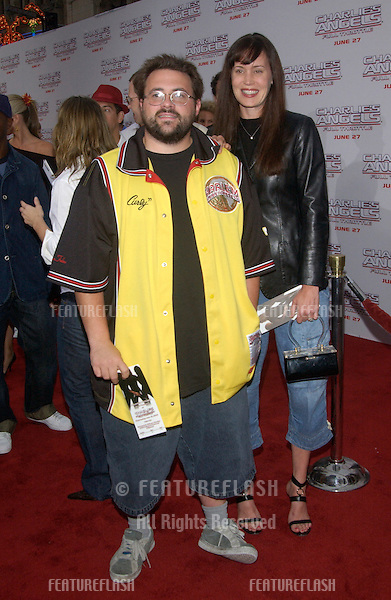 Director KEVIN SMITH & wife at the Hollywood premiere of Charlie's Angels: Full Throttle..June 18, 2003.