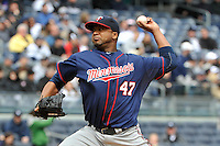 Apr 07, 2011; Bronx, NY, USA; Minnesota Twins pitcher Francisco Liriano (47) during game against the New York Yankees at Yankee Stadium. Yankees defeated the Twins 4-3. Mandatory Credit: Tomasso De Rosa / Four Seam Images