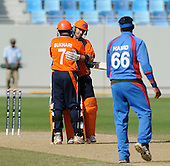 Afghanistan V Netherlands - World T20 Super Four stage qualifying cricket match in Dubai Sports City Cricket Stadium - pics from second innings, Netherlands batting - a well-worked innings of 24no by Essexs' Ryan ten Doeschate, seen here embracing teammate Mudassar Bukhari after the final ball, was enough to see the Dutch victorious, and inflict the first defeat of the tournament on Afghanistan - Picture by Donald MacLeod 12.02.10