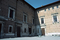 Urbino:  Ducal Palace--East Facade.  Piazza Duca Federico. Photo '83.