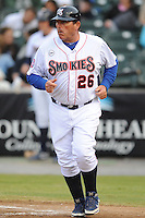 Tennessee Smokies manager Buddy Bailey #26 heads to the third base coaches box during a game against the Jackson Generals at Smokies Park, Kodak, Tennessee April 13, 2012. The Smokies won 4-1  (Tony Farlow/Four Seam Images)..