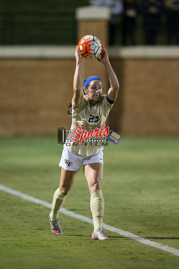 Kendall Fischlein (23) of the Wake Forest Demon Deacons throws the ball in from the sideline during first half action against the Louisville Cardinals at Spry Soccer Stadium on October 31, 2015 in Winston-Salem, North Carolina.  The Demon Deacons defeated the Cardinals 2-1.  (Brian Westerholt/Sports On Film)
