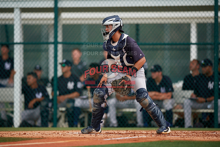 GCL Yankees East catcher Pedro Diaz (55) waits to receive a throw during the second game of a doubleheader against the GCL Pirates on July 31, 2018 at Pirate City Complex in Bradenton, Florida.  GCL Pirates defeated GCL Yankees East 12-4.  (Mike Janes/Four Seam Images)